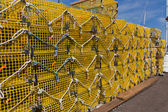 Commercial lobster cages on a pier in New England — Stock Photo