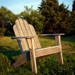 Foto Stock: Chair at sunset`
