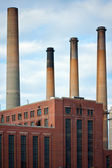 Dirty Factory Smoke Stacks — Stock Photo