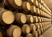 Stack of oak wine barrels — Stock Photo
