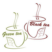 Cup of black and green tea — Stock Vector