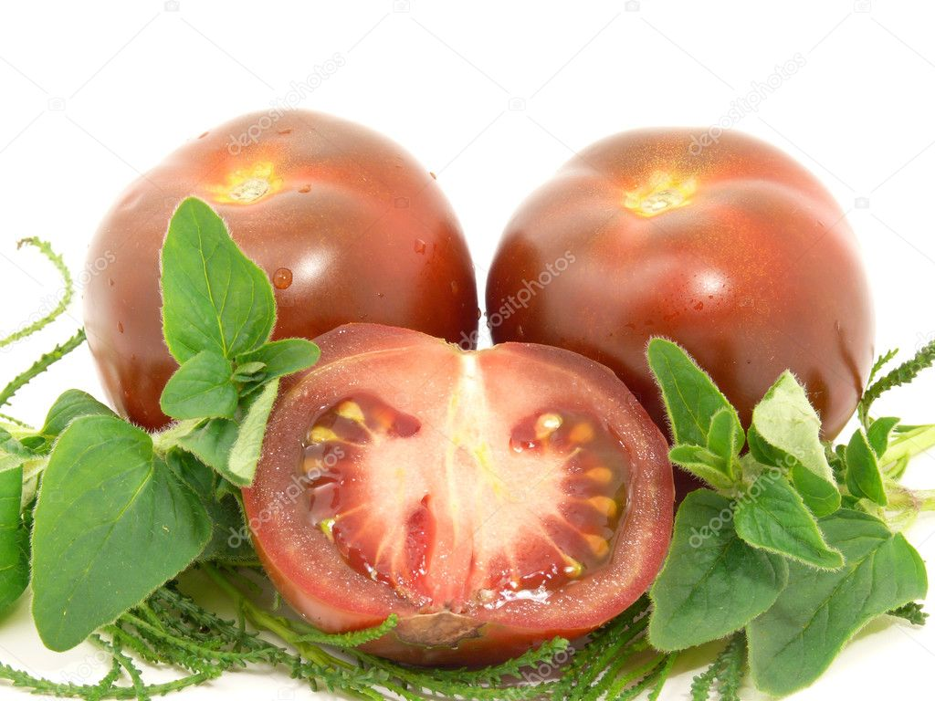 Chocolate tomatoes and Herbs — Stock Photo #3261460