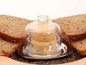 Sur mjölk ost och bröd — Stockfoto