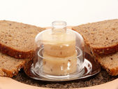 Kyselého mléka sýr a chléb — Stock fotografie