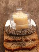 Leite azedo queijo e pão — Foto Stock