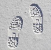 Foot prints in the snow — Stock Photo