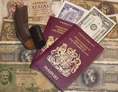Passport, currency, film — Stock Photo