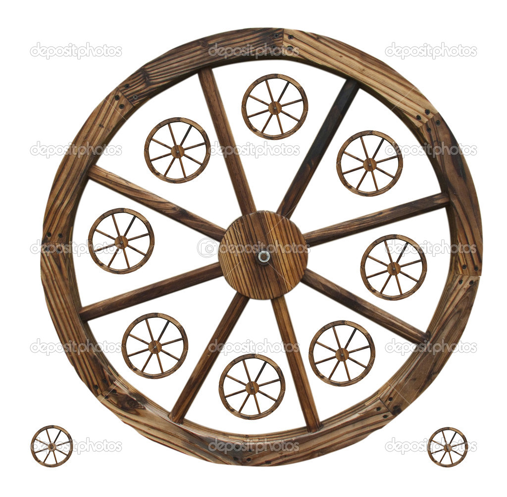 A collection of differnt size decorative wagon wheels  — Stock Photo #3087707
