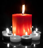 Large Red Candle - Black and White — Stock Photo