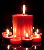 Red Candles - Large and small — Stock Photo