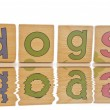 Wooden tiles - spelling DOGS — Stock Photo