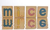 Drewniane klocki - pisowni myszy — Zdjęcie stockowe