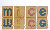 Wooden tiles - spelling MICE — 图库照片