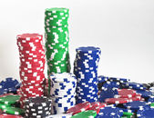 Towers of poker chips — Stock Photo