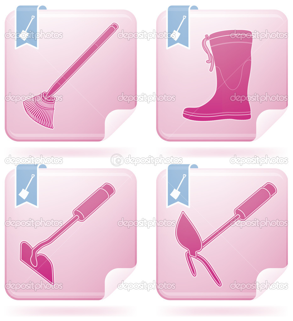 Miscellaneous Gardening hand tools  (part of Flamingo Square 2D Icons Set) — Stock Vector #3153541