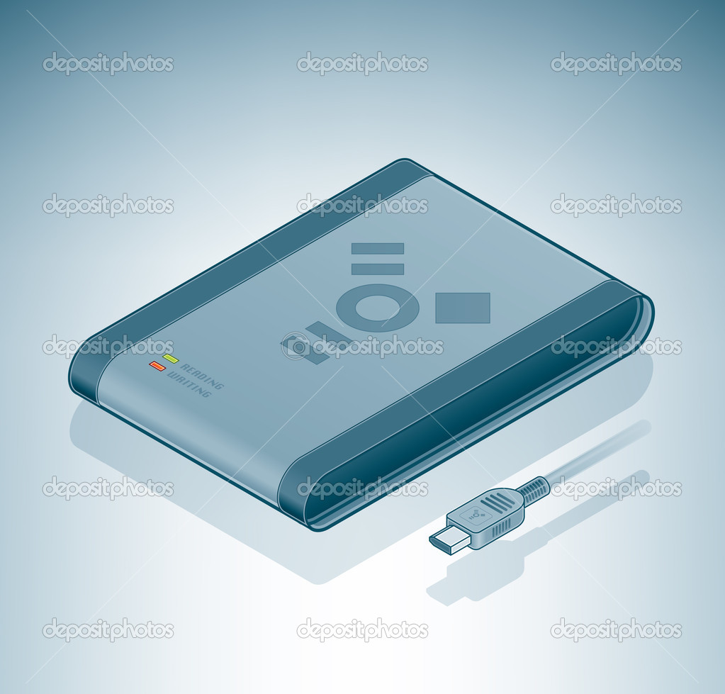 Portable Hard Disk Drive (Firewire) is a part of the Isometric 3D Computer Hardware Icons Set — Stock Vector #3164571