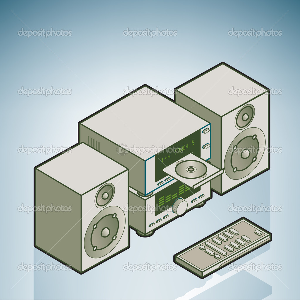Mini HiFi (part of the Home Utensils Isometric 3D Icons Set) — Stock Vector #3192557