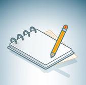 Office Notebook & Pen — Stock Vector