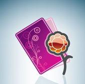 Valentine/Love Card & a Flower — Vecteur