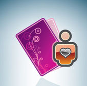Valentine/Love Card & Mans Heart — Vector de stock
