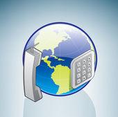 Globe & Telephone — Stock Vector