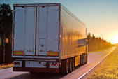 Truck on wood road in the evening — Stock Photo