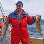 Fisherman with fish on the boat near the Lofoten island — Stock Photo