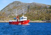 Fishing boat in a fjord of northern Norway — Stockfoto