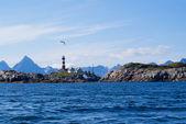 The lighthouse on the norwagian island Skrova. — Stock Photo