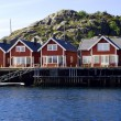 Stock Photo: Cottages on island Skrovon NorwegiLofoten Islands