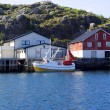 Stock Photo: Moored boat on island Skrovin Norway