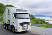 The truck on the Norwegian road — Stock Photo