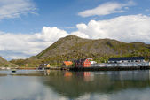 The Norwegian village Skrova on Norwegian Lofoten Islands — Stock Photo