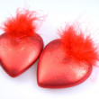 Decorations - two red hearts — Foto Stock