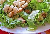 зеленый салат с хлебом — Стоковое фото