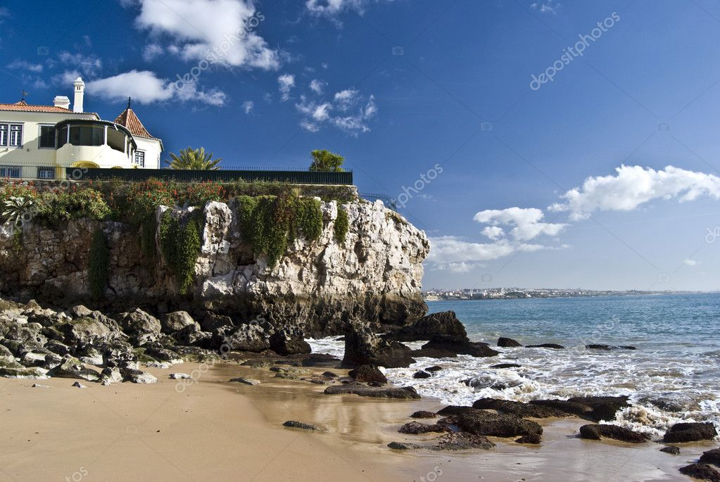 Part of the beautiful beach in Cascais near Lisbon  Stock Photo #3093322
