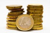 Euro coins isolated on white — Stock Photo