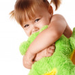 Cute girl embracing her soft toy — Stock Photo #3066445