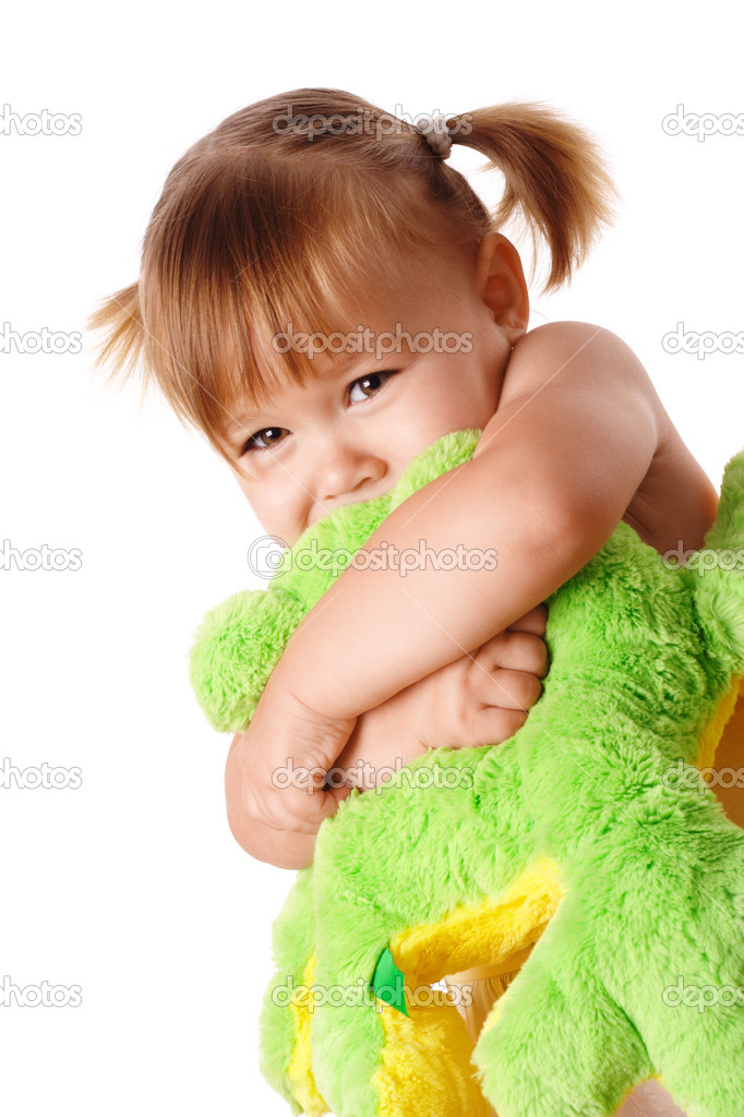 Cute little girl embracing her soft toy, isolated over white — Stock Photo #3066445