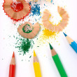 Color crayons with shavings - Stockfoto