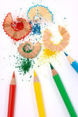 Color crayons with shavings — Stock Photo