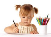 Cute preschooler focused on drawing — Stock Photo