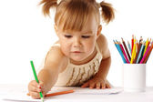 Cute child draw with crayons — Stock Photo