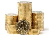 Closeup of a golden coins — Stock Photo