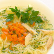 Chicken soup with spaghetti — Stock Photo