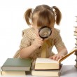 Little girl looking at book — Stock Photo #3097673