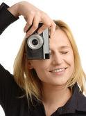 Woman taking a shot — Stock Photo
