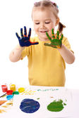 Cute child paint using hands — Stock Photo