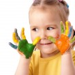 Cute child with painted hands — Stock Photo #3257626
