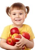 りんごとかわいい子 — ストック写真